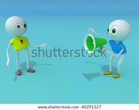 The character holds a megaphone - stock photo