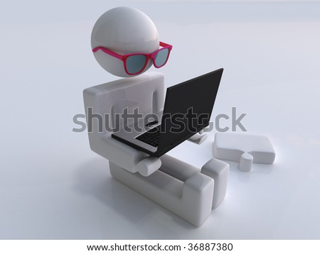 The character holds the laptop on hands - stock photo