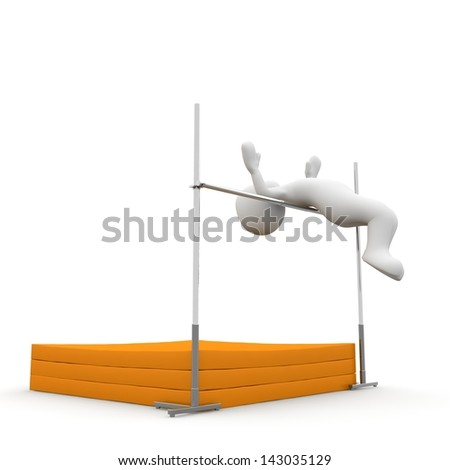 The character jumps very high over the bar on the mattress. - stock photo