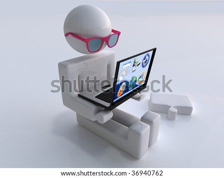 The character sits with the transparent laptop - stock photo