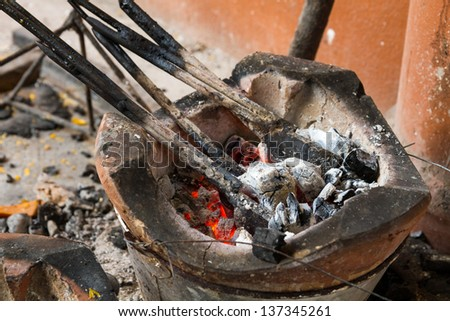 The Charcoal stove of thai style isolated
