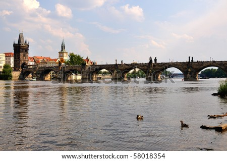 The Charles bridge and in Prague, Czech republic