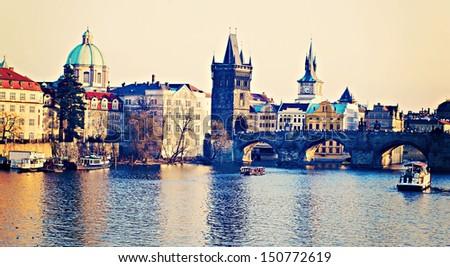 The Charles Bridge Prague Czech Republic - stock photo