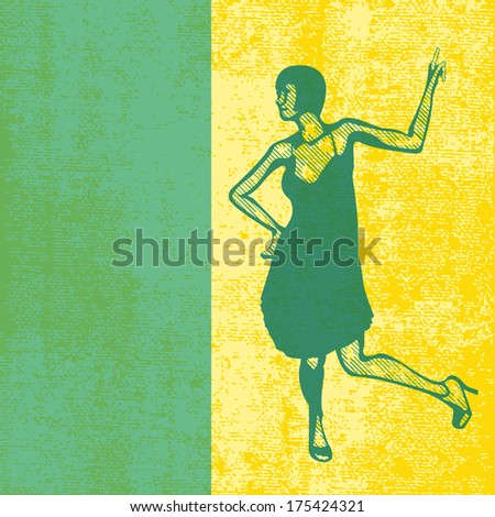 The Charleston, grunged background with a female dancer - stock photo