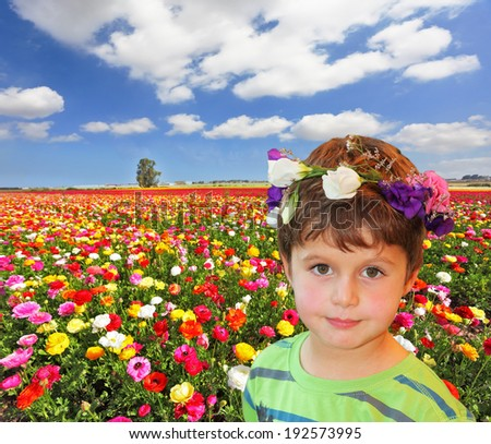 The charming little boy in flower garland on the background of colorful flower fields - stock photo