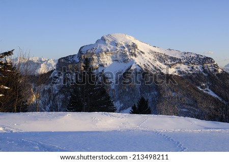 The Chartreuse range near Grenoble (France) in Winter. French Alps