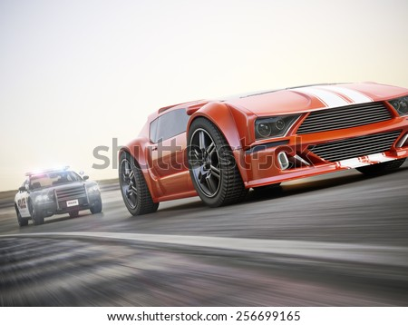 The chase. Police car chasing of an exotic sports car with motion blur. Generic custom photo realistic 3d rendering. - stock photo