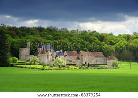 The Chateau de Faulin in Burgundy, France. Space for text on the sky or green field. - stock photo