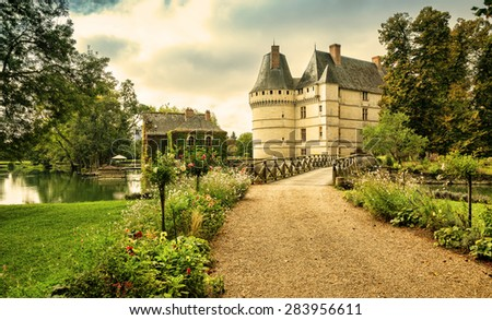 The chateau de l'Islette, France. Located in the Loire Valley. - stock photo