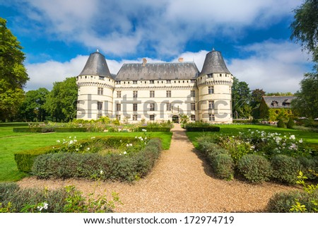 The chateau de l'Islette, France. This Renaissance castle is located in the Loire Valley, was built in the 16th century and is a tourist attraction. - stock photo