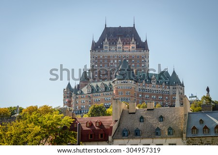 The Chateau Frontenac, a landmark in old Quebec City, Canada. Photograph shot on September 2014