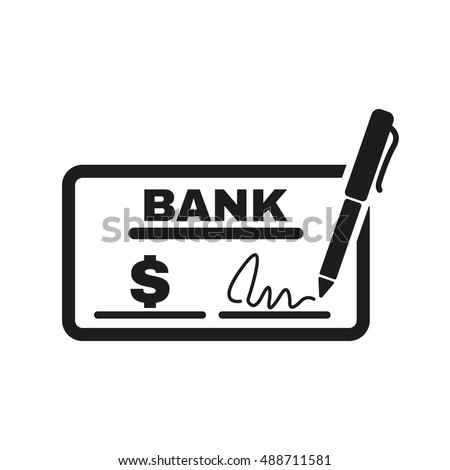 Check Icon Checkbook Cheque Pay Payment Stock Illustration 488711581