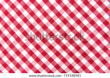 The checkered tablecloth isolated