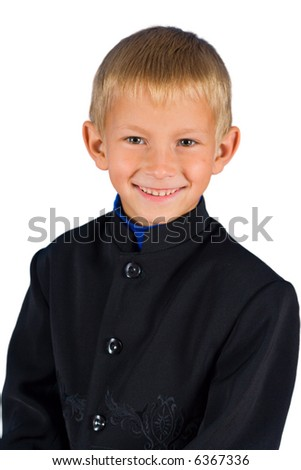 The cheerful and happy boy on a white isolated background