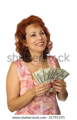 The cheerful nice woman showing cash and a smile