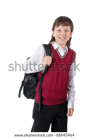 The cheerful schoolboy with a satchel isolated on a white - stock photo
