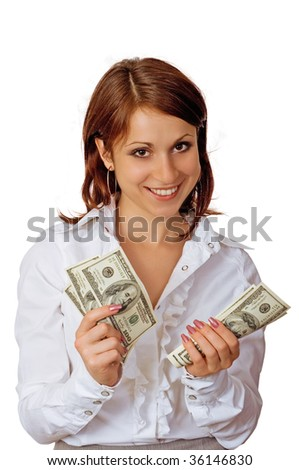 The cheerful young woman showing cash, smile and self-trust