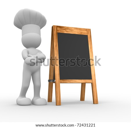 The chef and a blank menu board - 3d render illustration - stock photo