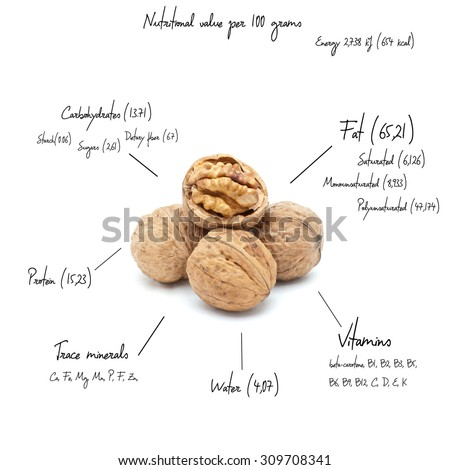 The chemical composition of walnut on the white background - stock photo