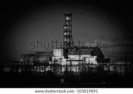 The Chernobyl Nuclear Power Plant, 2012 March 14 in black and white - stock photo