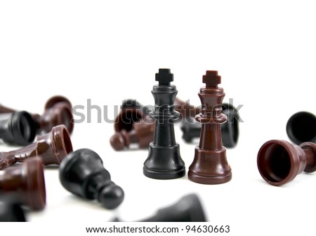 the chess king, the leader of army isolated on white background, - stock photo