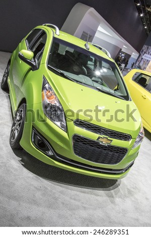 The 2016 Chevrolet Spark at The North American International Auto Show January 13, 2015 in Detroit, Michigan. - stock photo