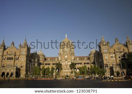 The Chhatrapati Shivaji Terminus which was formally know as Victoria Terminus, Mumbai, India. - stock photo