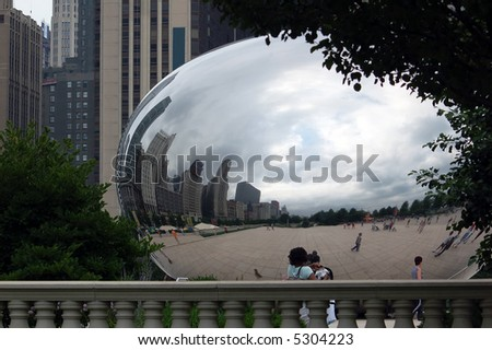 The Chicago Bean at the Millennium Park taken from an unusual place