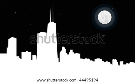 The Chicago city skyline illustrated at night - stock photo