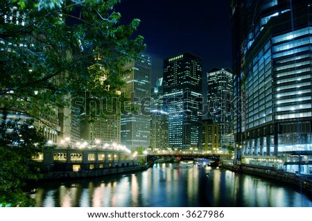 The Chicago River on a summer night. - stock photo