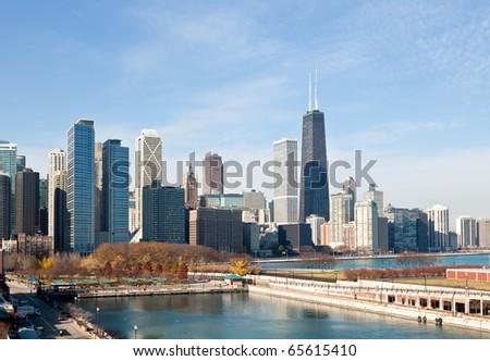 The Chicago Skyline along the lake shore - stock photo