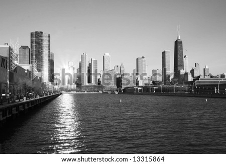 The Chicago skyline in a classic black and white format