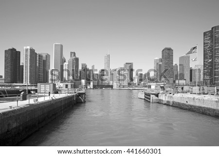 The Chicago skyline in a classic black and white format - stock photo