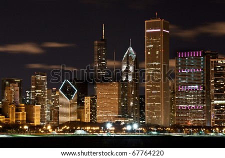 The Chicago skyline of a major city. - stock photo