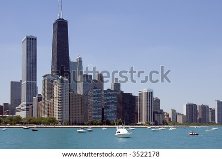 The Chicago skyline seen from Lake Michigan. - stock photo