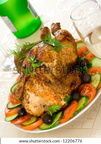 The chicken a grill on a table with glasses dry fault - stock photo