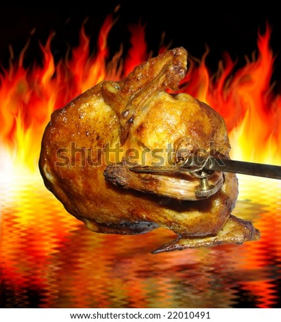 the chicken on grill on background of flames - stock photo