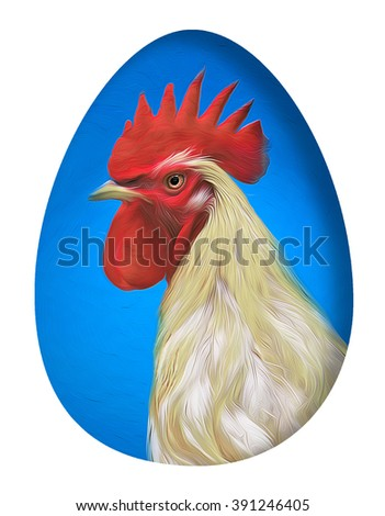 The chicken painting,easter egg - stock photo