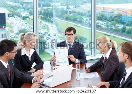 The chief of staff at a meeting in the office - stock photo