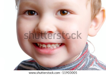 The child close up on a white background - stock photo