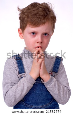 The child cries on a white background - stock photo