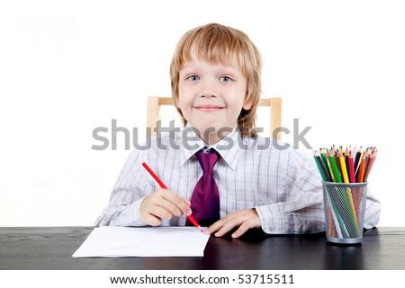The child draws - stock photo
