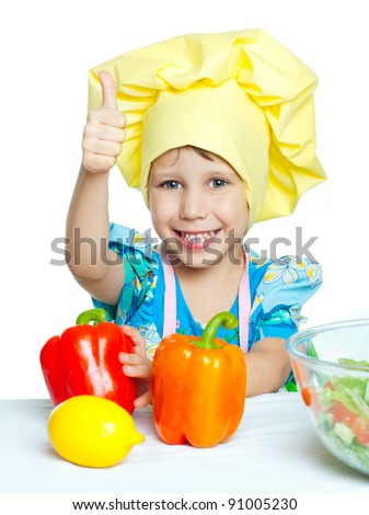 The child help prepare the cook - stock photo