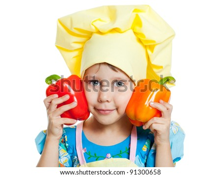 The child help prepare the cook - stock photo