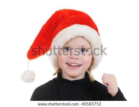 The child in a hat santa claus isolated on white background