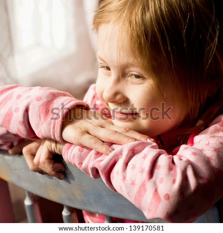 The child in a shelter - stock photo