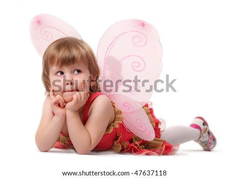 The child in a suit of the butterfly - stock photo