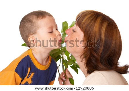 The child kisses mum - stock photo