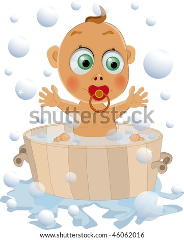 the child likes to wash - stock photo