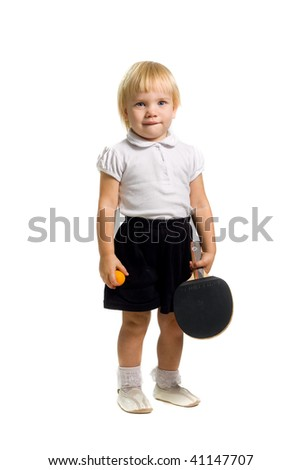 The child plays table tennis,isolated on white. - stock photo